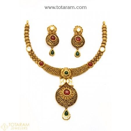 22K Gold Antique Necklace & Drop Earrings Set With Fancy Stones - 235-GS2992 - Buy this Latest Indian Gold Jewelry Design in 39.250 Grams for a low price of $2,086.00