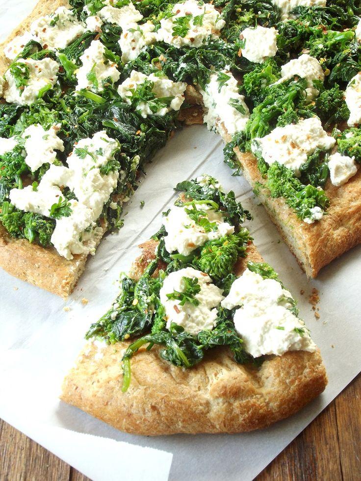 #Vegan Broccoli Rabe and Cashew Ricotta White Pizza