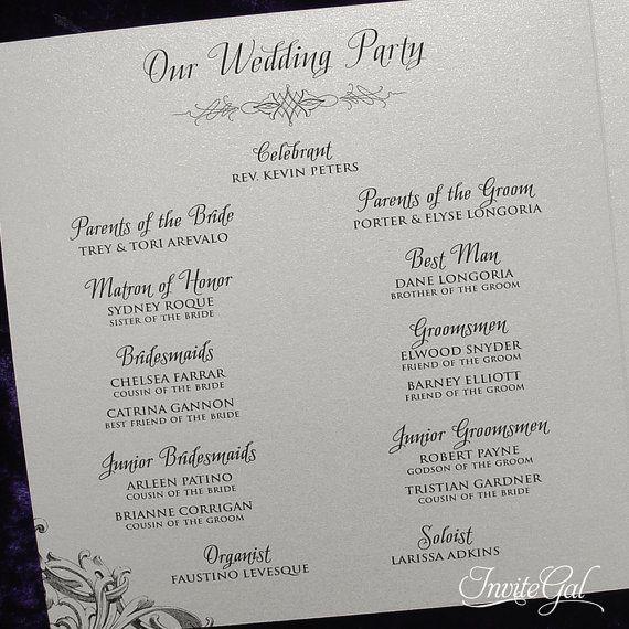 Vintage Gothic Wedding Ceremony Program Sample