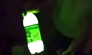 Leave 1/4 of Mountain dew in bottle (just dont drink it all), add a tiny bit of baking soda and 3 caps of peroxide.  Put the lid on and shake! Homemade glow stick (bottle) solution.