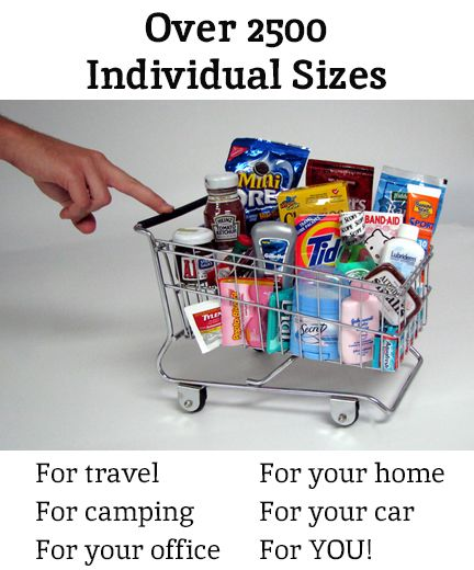 minimus.biz - I'm so excited I found this!  You can buy individual packaged items, everything from condiments to gourmet cheeses to toiletries to pet supplies, PERFECT for backpacking (small packs of burn gel, poison ivy soap, condiments), camping (travel games!), first aid kid, gift baskets, or regular ole' travel needs