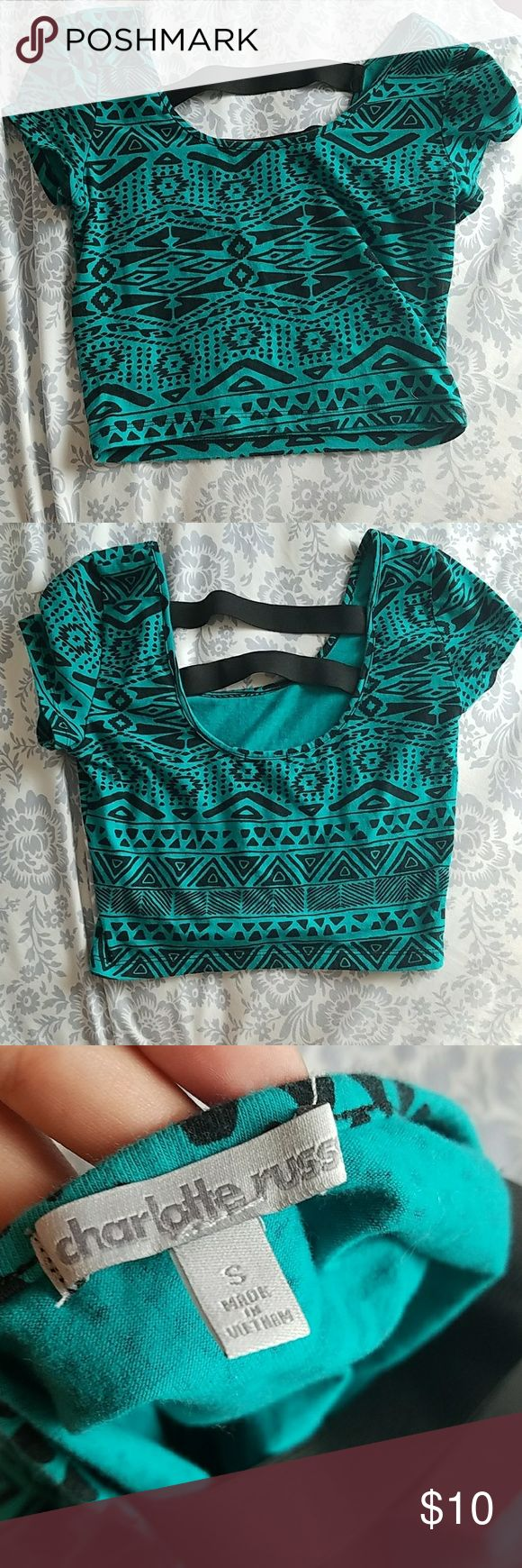 Aztec Crop Top Teal and black Aztec Crop Top great for a night out! It's in excellent used condition Charlotte Russe Tops Crop Tops