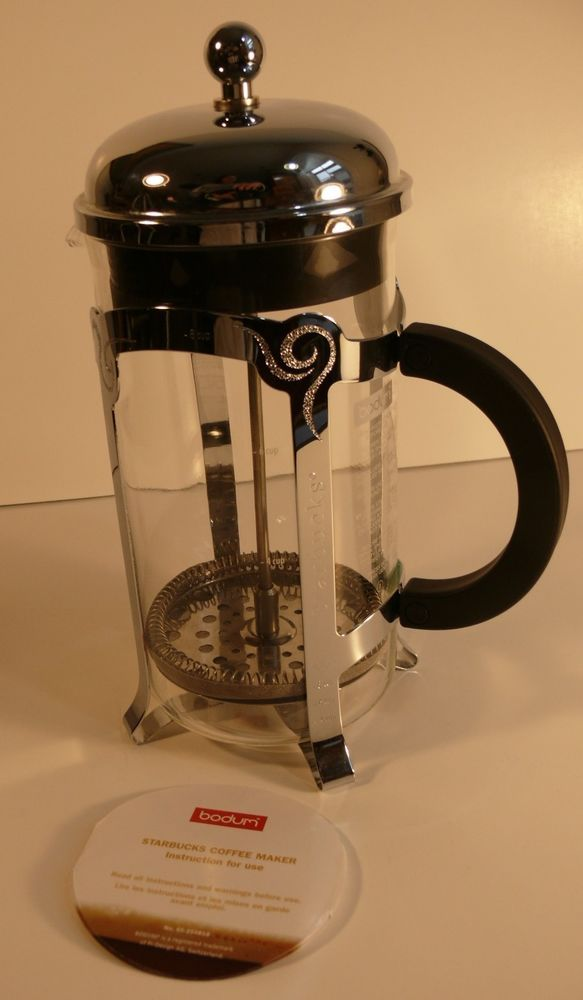 Starbucks Bodum French Press Coffee Maker 8 Cup Glass Stainless