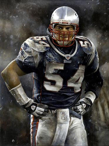 Oil portrait of Tedy Bruschi, linebacker for the New England Patriots by Brian Fox   Flickr - Photo Sharing!