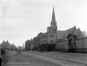 James St, Dublin, looking west towards Kilmainham.  St. James' Church of Ireland spire, since demolished, can be clearly seen.
