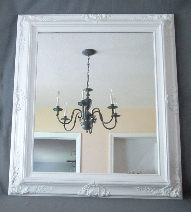"Decorative Wall Mirrors DECORATIVE ORNATE MIRRORS For Sale Large Mirror Mantel 31""x 27"" Ivory Black White Framed Vanity Mirror Shabby Chic. $189.00, via Etsy."