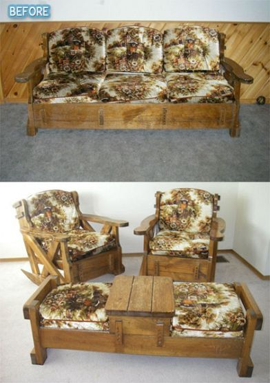 Wow!  This transformation is remarkable.  I could never have seen this potential in the old 70's furniture transformed into awesome patio set.