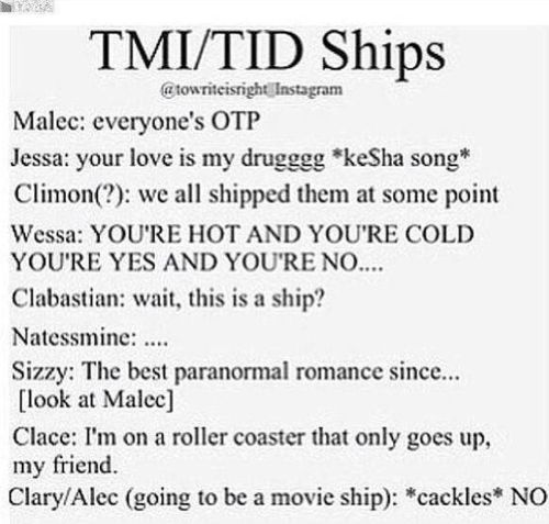 I never shipped Clary and Simon. But the show made me ship Clalec just a bit, but Malec is OTP