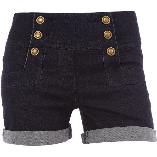 Dark wash military shorts (€26) ❤ liked on Polyvore featuring shorts, bottoms, pants, short, jeans, denim skirts and shorts, women's dresses & skirts, highwaist shorts, high waisted short shorts and military style shorts