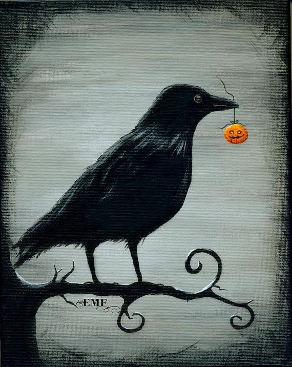 "Halloween art, ""Crow's Treasure"" digital art print from Etsy"