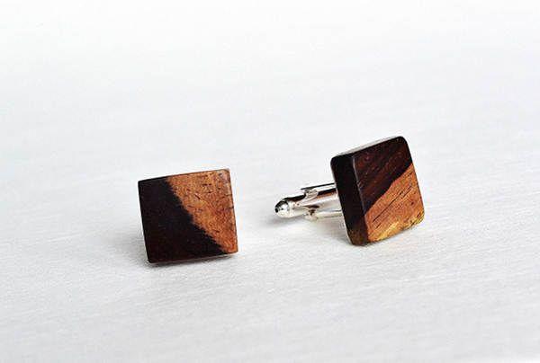 Cufflinks from exotic wood, wooden cufflinks, cufflinks made of wood, by Mazunii on Etsy