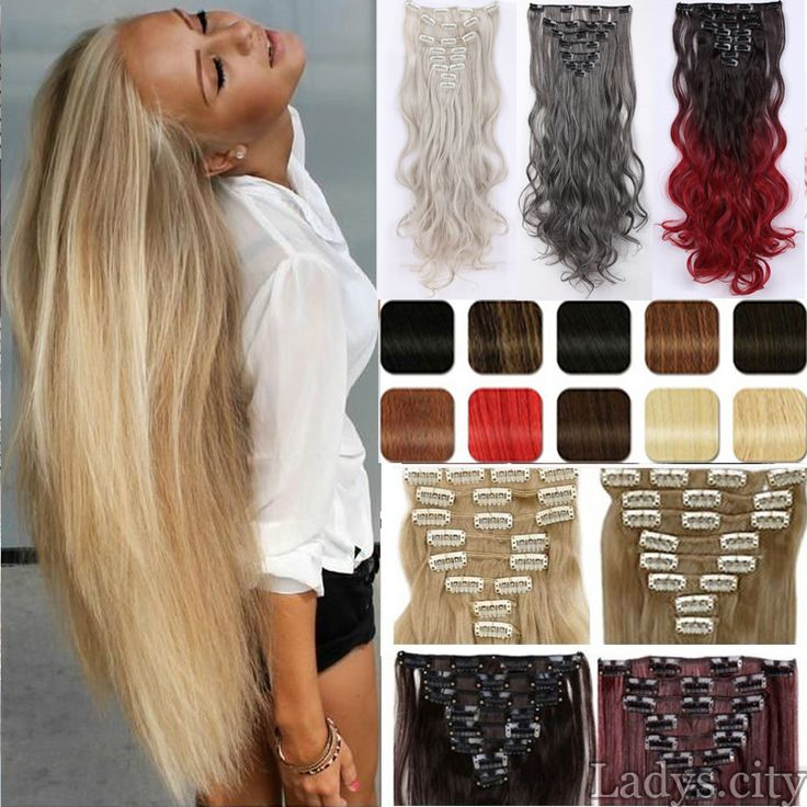 "8pcs/set 26"" 170g 18 Clips in Hair Extensions Synthetic Hairpiece Fake Hair Styling clip Straight Pale Blonde Brown Hair Piece"