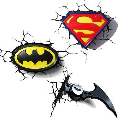 Dc comics #batman and #superman 3d wall lights - nightlight bedroom #lighting ,  View more on the LINK: http://www.zeppy.io/product/gb/2/401097038768/