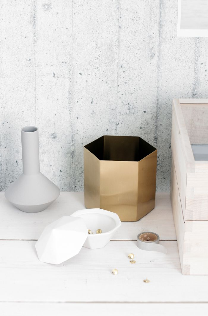 Great objects for storage by ferm LIVING.  ferm LIVING Treasure Diamond - http://www.fermliving.com/webshop/shop/treasure-diamond-1.aspx  ferm LIVING Hexagon Pot - http://www.fermliving.com/webshop/shop/hexagon-pot-small.aspx  ferm LIVING Geometry Vase - http://www.fermliving.com/webshop/shop/geometry-vase-2.aspx