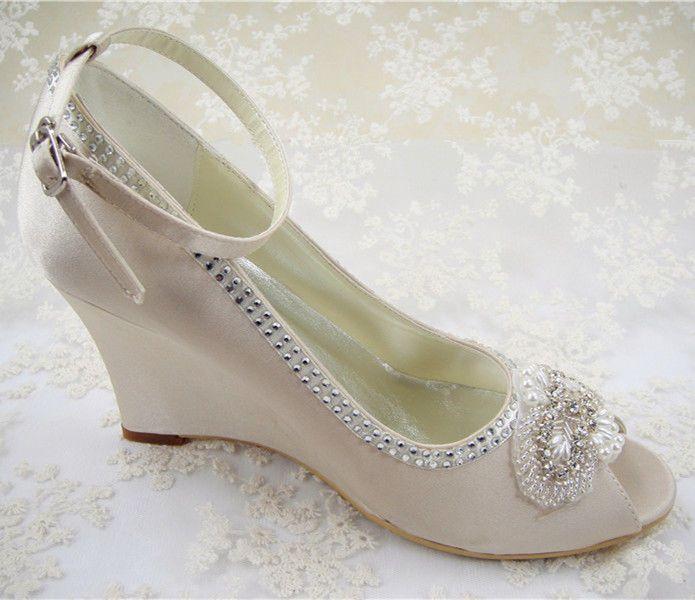 Handmade Bridal Rhinestone Wedge Shoes Champagne Mary Janes Satin Wedding