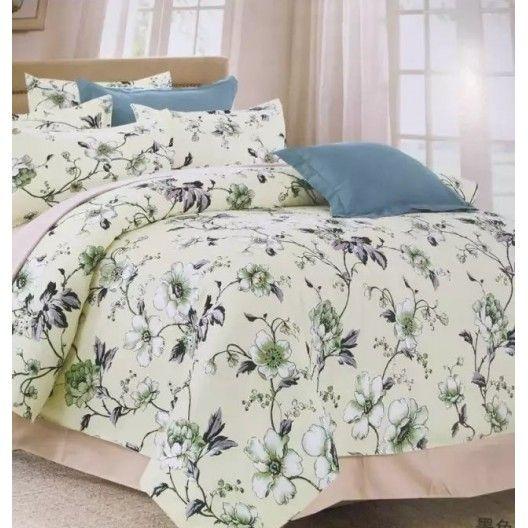 Krémové posteľné obliečky s motívom kvetov