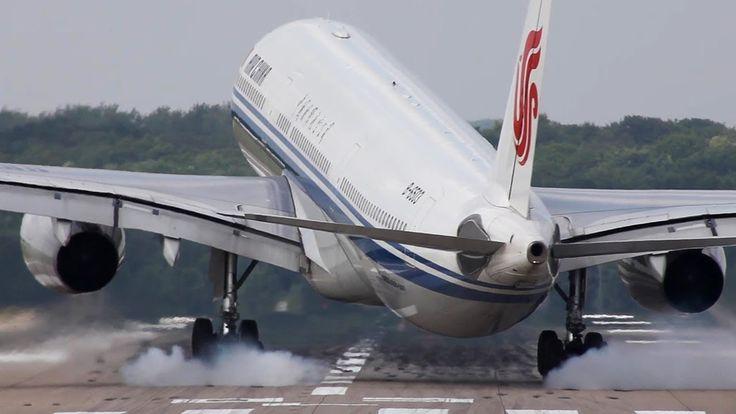 Crosswind Landings At Düsseldorf - Airbus A330, Airbus A319, Boeing 737-...