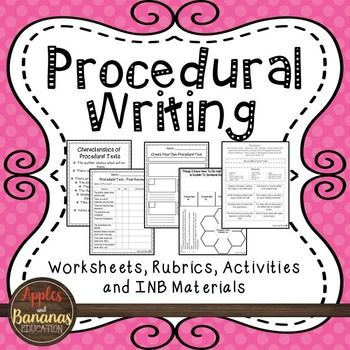 Procedural Writing - Writer's Workshop... by Apples and Bananas Education   Teachers Pay Teachers