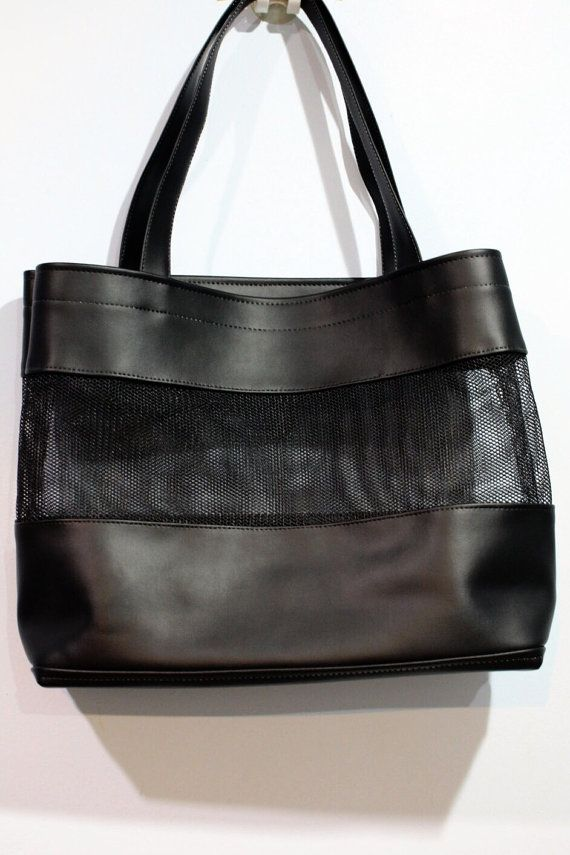 Black Faux Leather Tote Clear Net Mesh Shoulder by pingypearshop