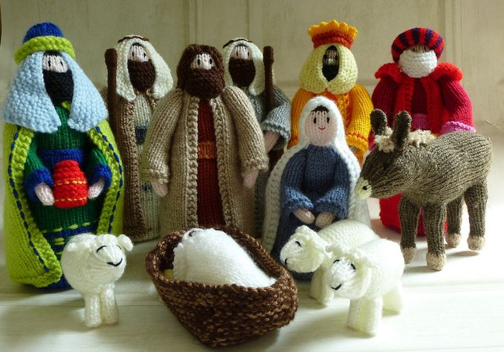 Hand Knitted Nativity Set Including Donkey By Chalkstring
