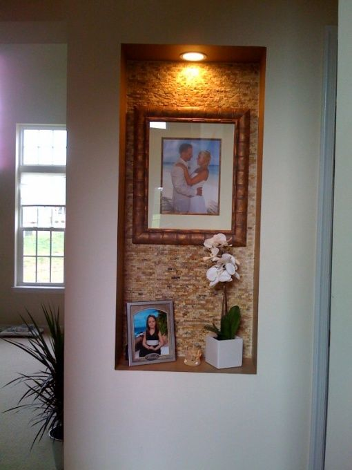 wall niche, used stone tile from The Tile Shop and framed the back wall of the niche and then accented with brown paint., accent niche with ...