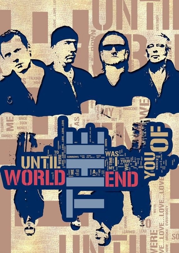 Music poster U2 Print  Until the End of the World  by Artistico, $28.00