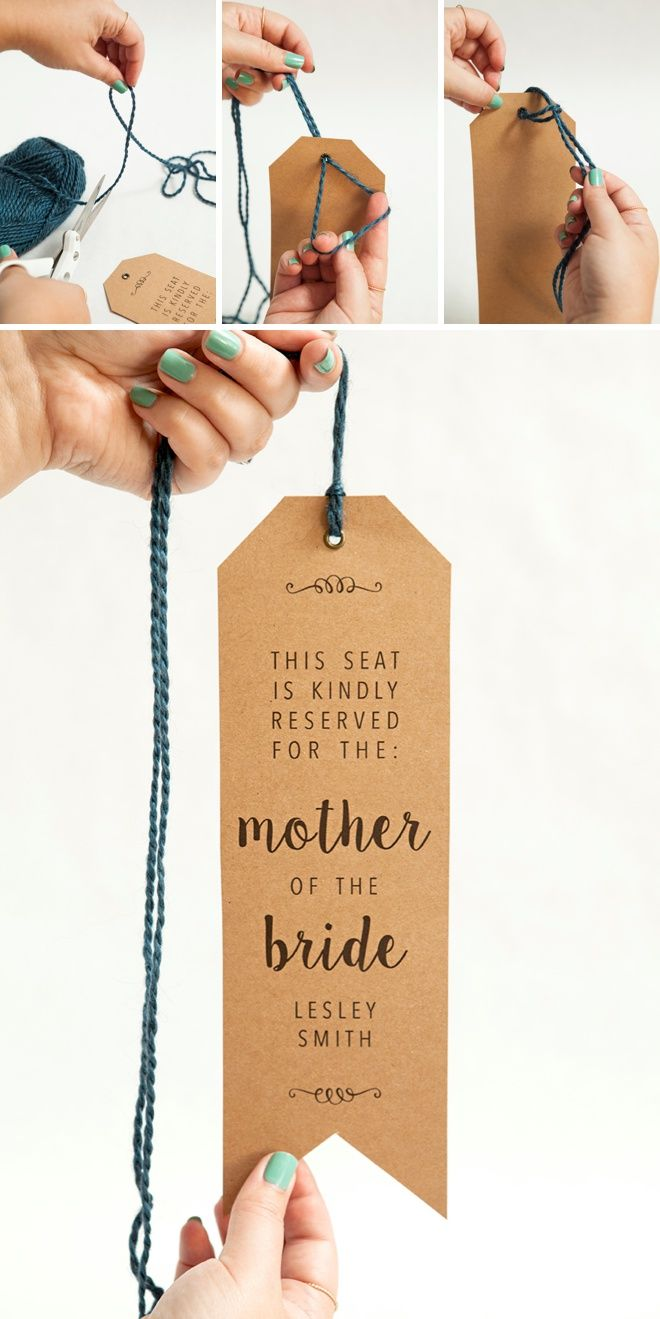 WE ♥ THIS!  ----------------------------- Original Pin Caption: How to make your own wedding ceremony chair reserved signs, with free printables!