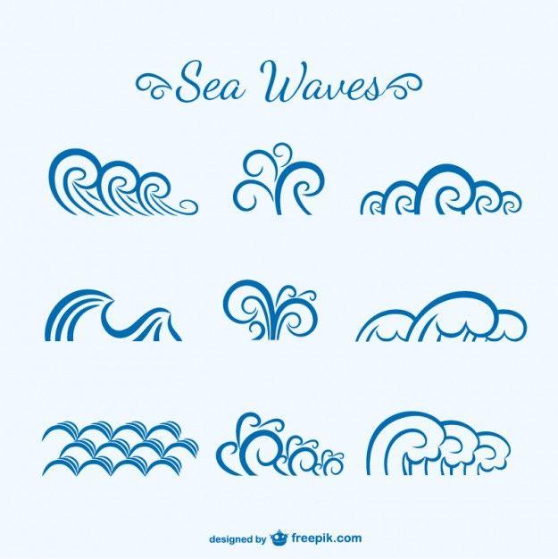 Boceto de olas del mar Vector Gratis