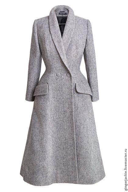 Длинное фигурное пальто - серый,пальто,приталенный,ретро,50-е,шаль,зима