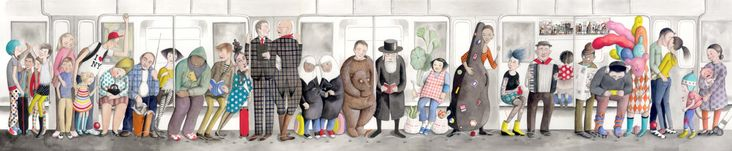 Illustration that can be found in NYC trains. Created by Sophie Blackall