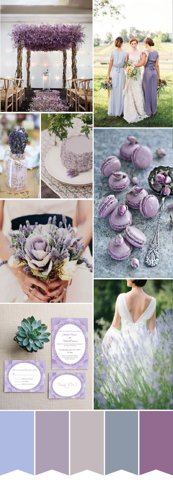 shades of purple and lavender wedding color ideas and wedding invitations