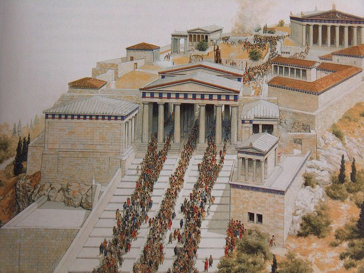 Athenians going up to the Acropolis for the Panathenaic festival: Watercolor by P. Connolly, from John M. Camp, The Archaeology of Athens, 2001