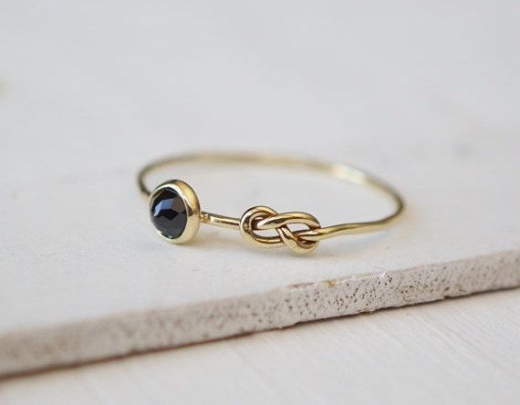 Black Spinel Ring Eternity Symbol Ring Infinity Ring by Luxuring