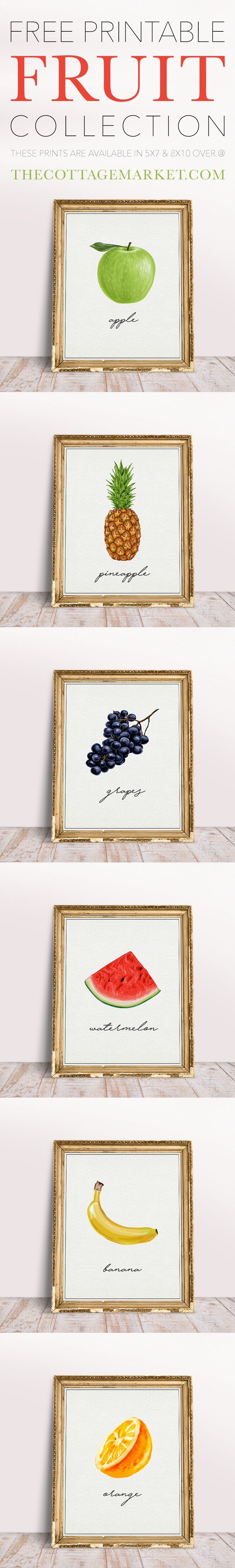 A SIX Piece Collection of our Free Printable Fruit Collection.  These are just waiting to be hung on your walls...displayed in your vignettes...featured on a gallery wall and so much more!