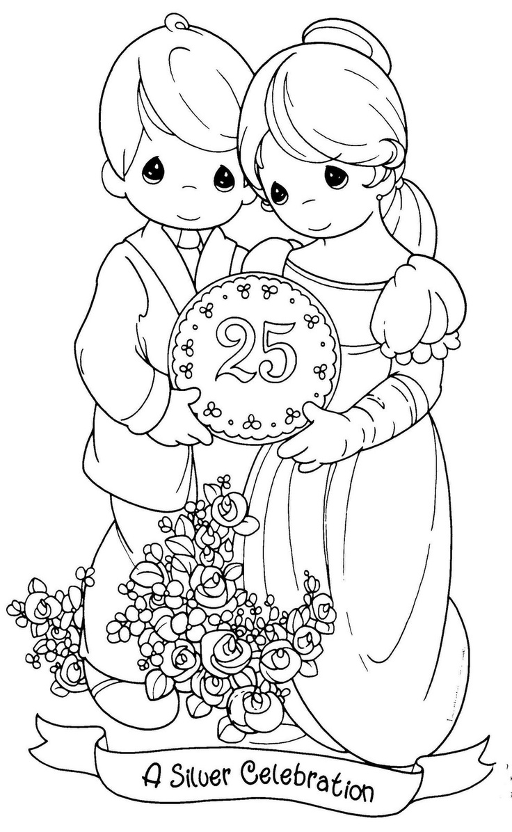 Coloring pages precious moments printable - Wedding Anniversary Coloring Pages Precious Moments