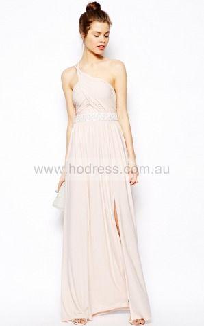 Chiffon One Shoulder Natural A-line Floor-length Bridesmaid Dresses 0740151--Hodress
