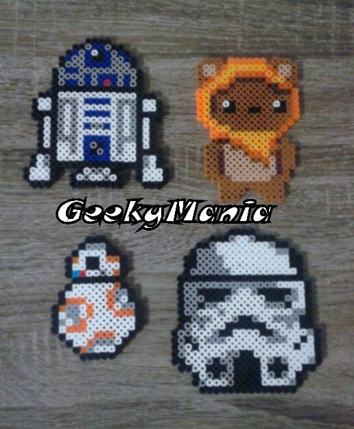 Star Wars R2D2 Ewok Wicket BB-8 & Trooper Perler by GeekyMania