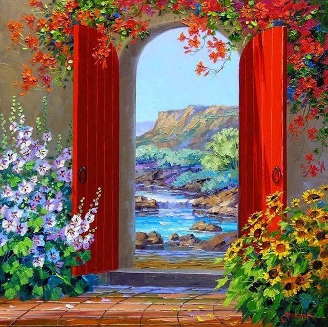 Pintura de Flores al Óleo con Espátula, Mikki Senkarik. | Bodegones y Paisajes Cuadros al Óleo