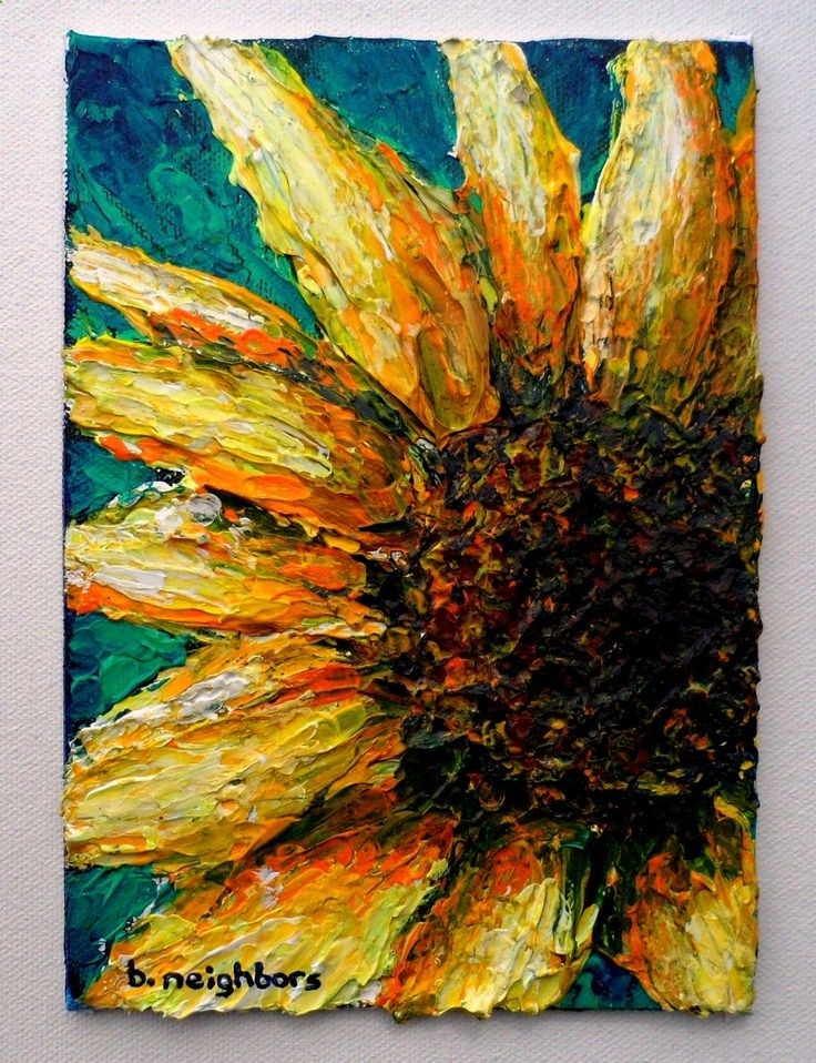 Made to Order: Sunny Sunflower, Acrylic Painting on Canvas Panel Original Art 4/1/13. $25.00, via Etsy.