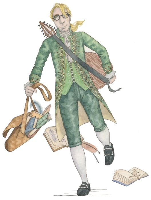 """The Princess and the Pea - Feminist Fairytales project. An illustrated book of five traditional fairytales, retold with a feminist twist. """"There was the Prince running towards them, carrying a bag overflowing with books, quills, inks and paper, with his lute thrown over his shoulder."""