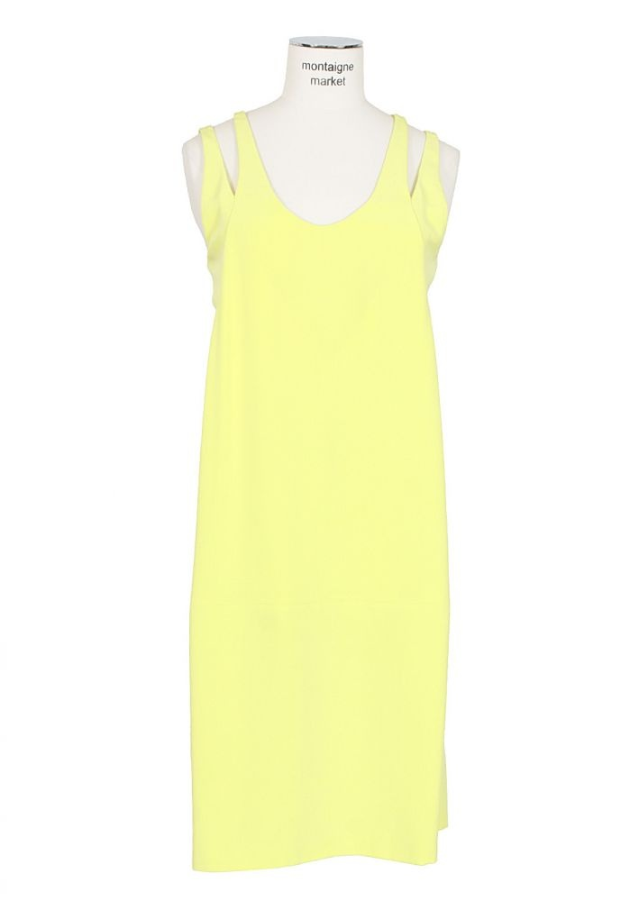 Alexander Wang   Eenvoudige gele jurk met een stuk uit de schouderbanden gesneden