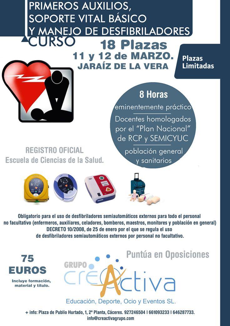 Universidad Popular se da a conocer el curso de Primero Auxilios de soporte vital básico y manejo de desfibriladores, se realizará durante los días 11 y 12 de marzo.