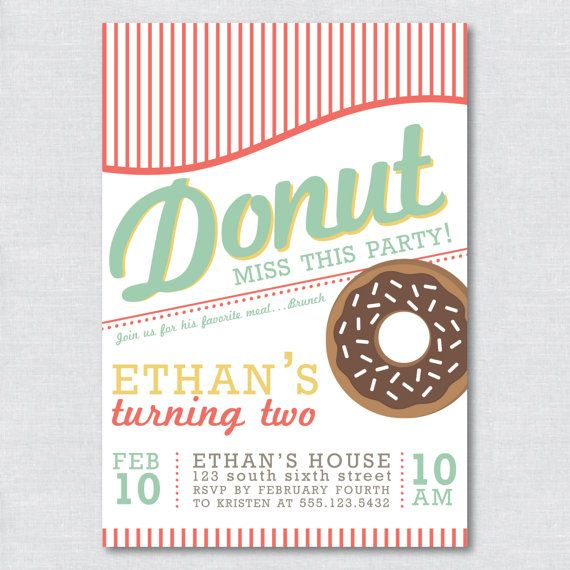 Printable Donut Party Invitation  Digital File by LittleIvyDesign, $20.00