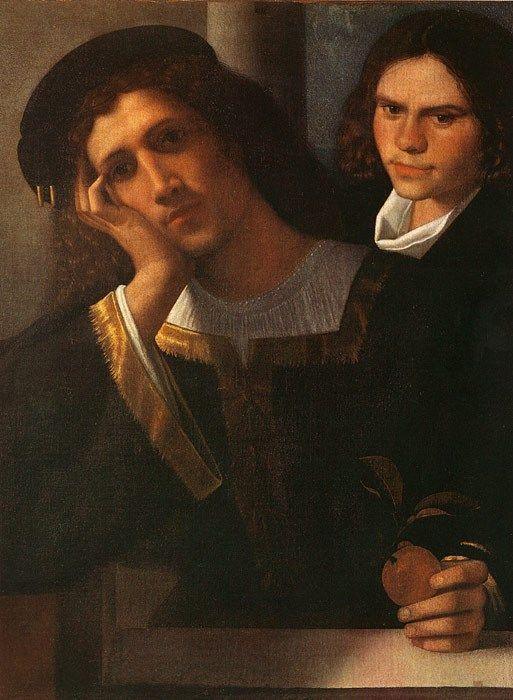 """Giorgione: """"Ritratto Ludovisi"""" (Doppio ritratto) 1502, olio su tela, 80 x 75 cm, Museo Nazionale di Palazzo Venezia, Roma."""