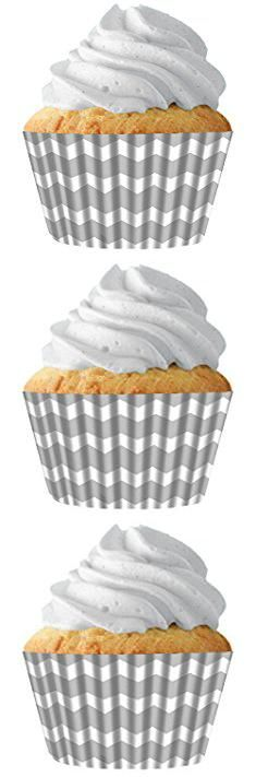 Chevron Cupcake Liners. Silver Chevron Standard Cupcake Baking Cup Liners, 32 Count by Cupcake Creations by Siege.  #chevron #cupcake #liners #chevroncupcake #cupcakeliners