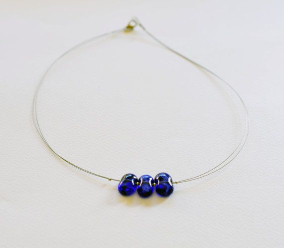 Collana in vetro blu cobalto