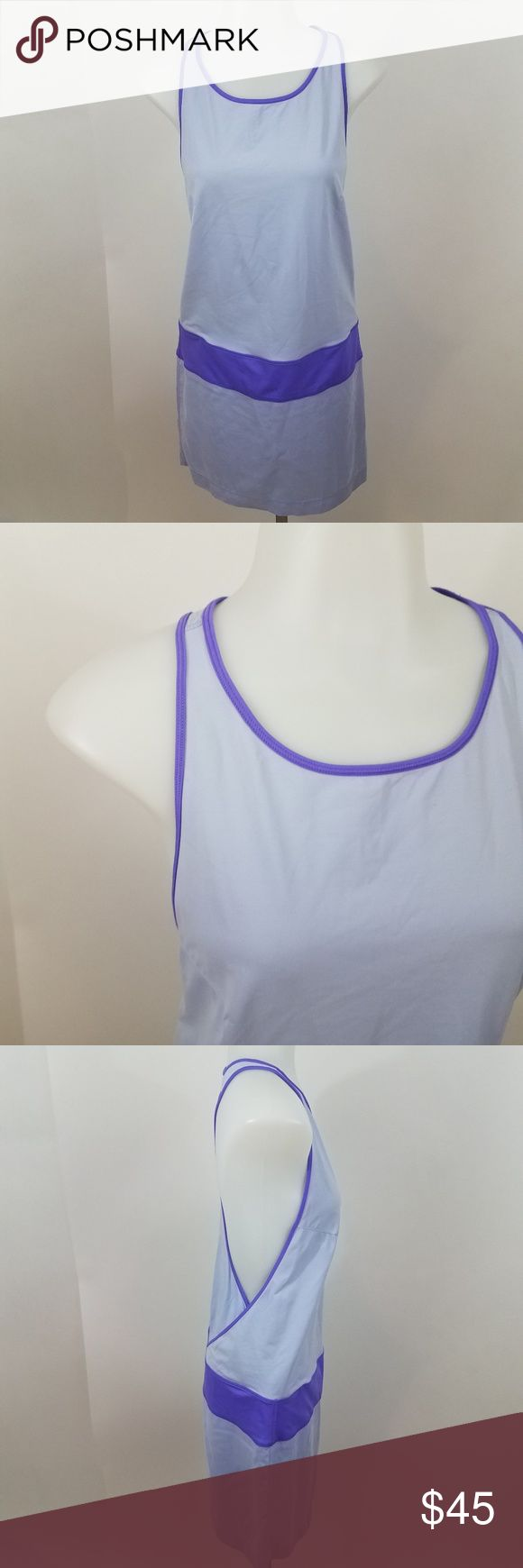Lululemon blissed out dress racerback yoga Lululemon Dress blissed out purple tank shift cover up workout 6 yoga racerback Size 6, see measurements below. Used. Hole, stain. See photos.  Measurements are taken while item is lying flat.  Length: 34.5 Inches  Armpit to Armpit: 14.5 Inches  Inv AV. lululemon athletica Dresses