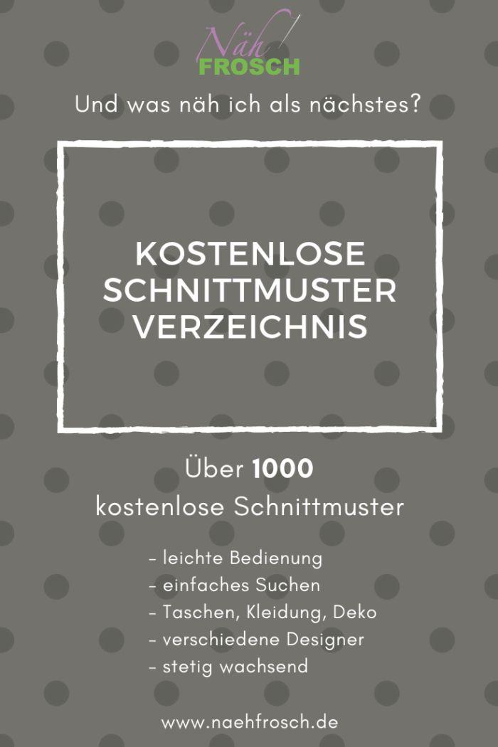 Das Freebook und kostenlose Schnittmuster Verzeichnis: Nähen mit über 1.500 Nähanleitungen – Dana Brunner
