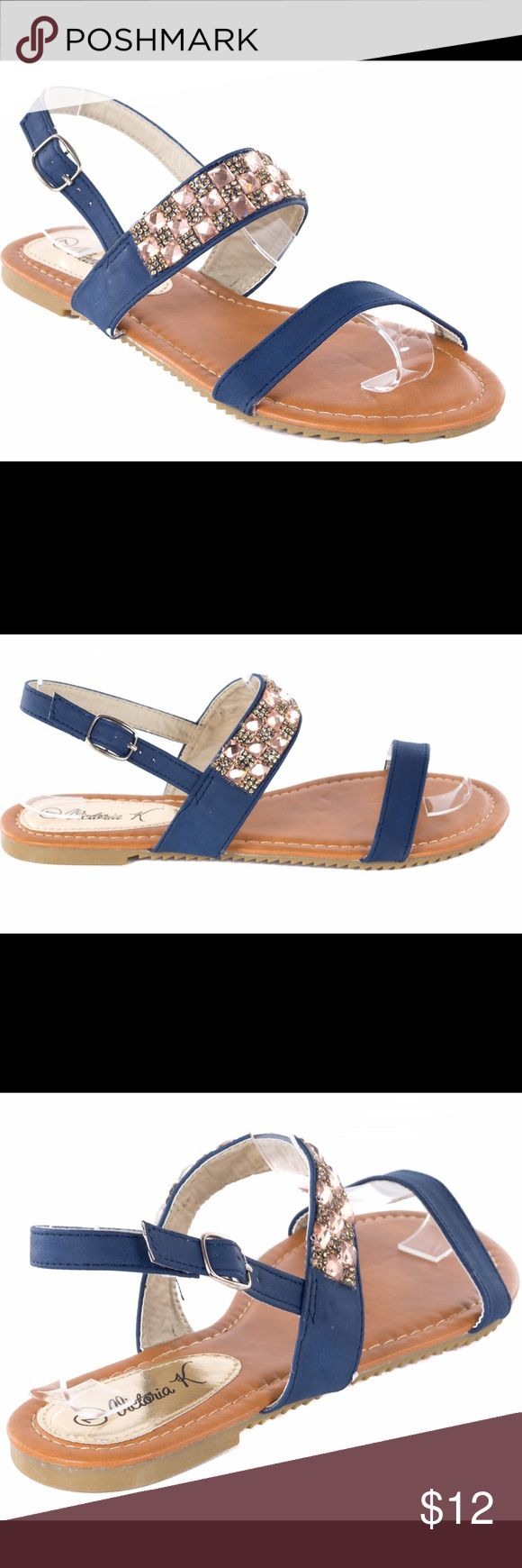 Women Slingback Navy Summer Sandals S1971A Gorgeous sandals for a young lady or a woman who knows shoe fashion. Perfect for walks on the beach during a vacation in the summer. Victoria K Shoes Sandals