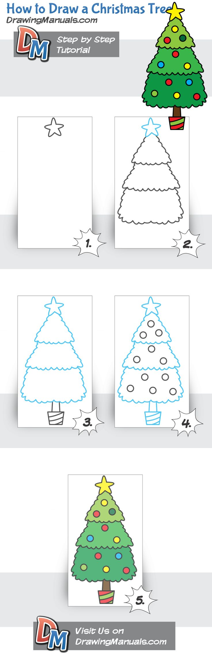 How to Draw a Christmas Tree http://drawingmanuals.com/manual/how-to-draw-a-christmas-tree/